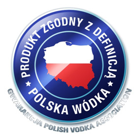An image of the guarantee stamp of a Polish vodka.