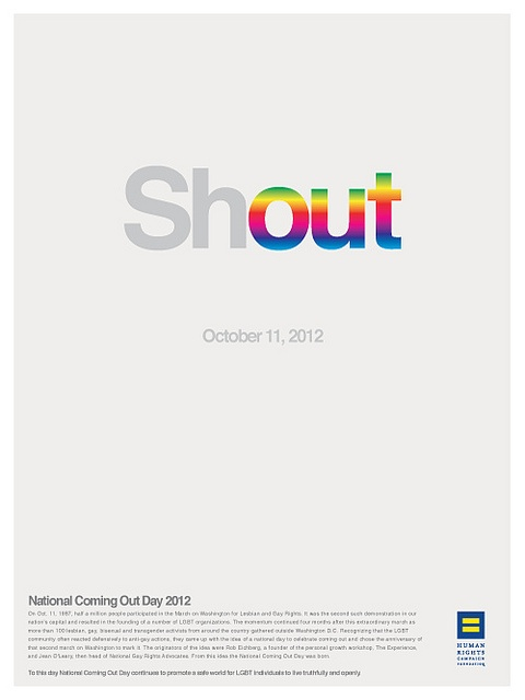 2012 National Coming Out Day poster by Hunter Langston