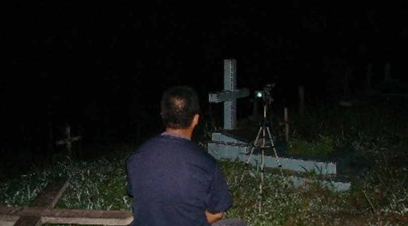 Ghost research in a cemetery.
