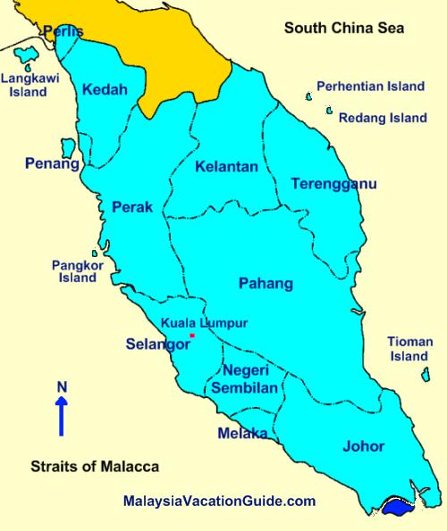 Peninsular Malaysia Map