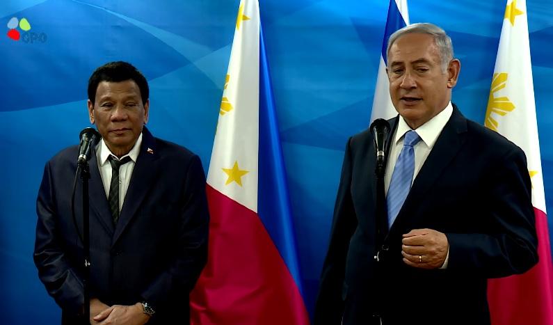 Philippines President Rodrigo Duterte met yesterday Prime Minister Benjamin Netanyahu at the Prime Ministers Office in Jerusalem.