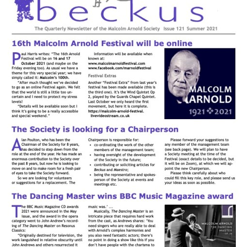Beckus 121 Malcolm Arnold Society