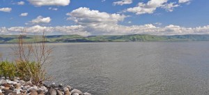 View of the Sea of Galilee from Capernaum. The fishermen, Peter, Andrew, James, and John (<a class=