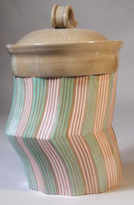 Pink and Green Stripped Pottery Jar, by Malcolm Gear