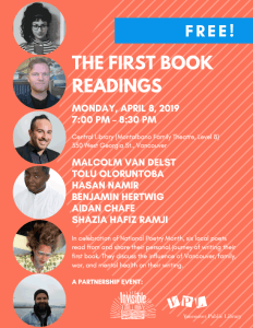 The First Book Readings @ Vancouver Public Library--Central Branch, Montalbano Family Theatre, Level 8