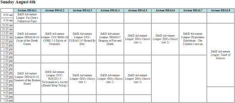 A programming grid showing the Sunday D&D Adventure League schedule.