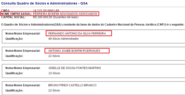 Sobrinho de Sebastião Bonfim aparece como Sócio na empresa.