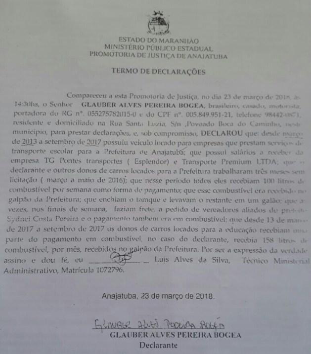 Declaração do Sr. Glauber Alves Pereira Bogea junto ao MP onde este relata como ocorriam as irregularidades