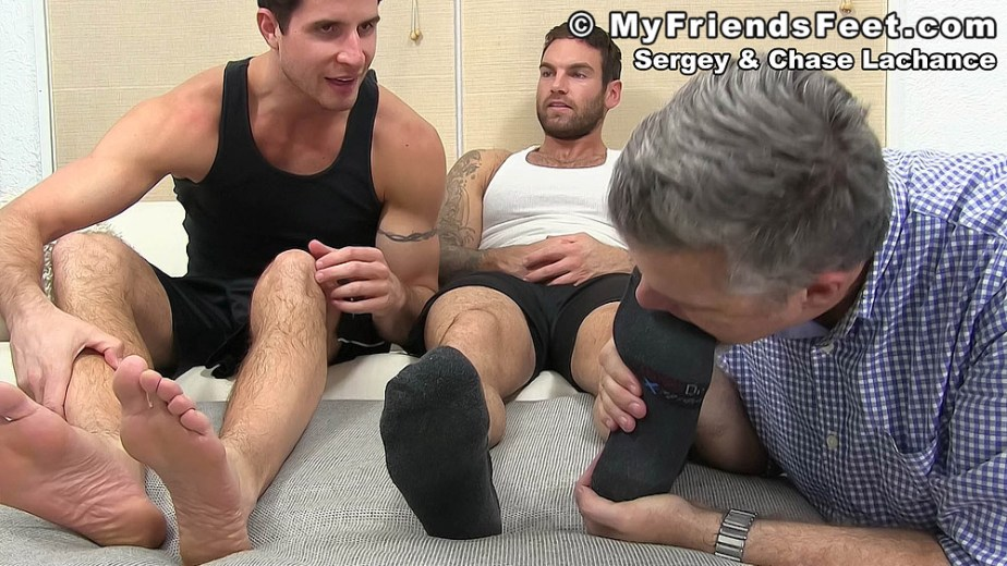 Chase Lechance's black socked feet get sucked - My Friends' Feet
