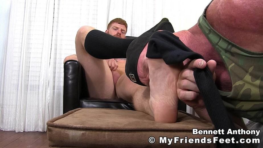 Dev takes off Bennett Anthony's black sock