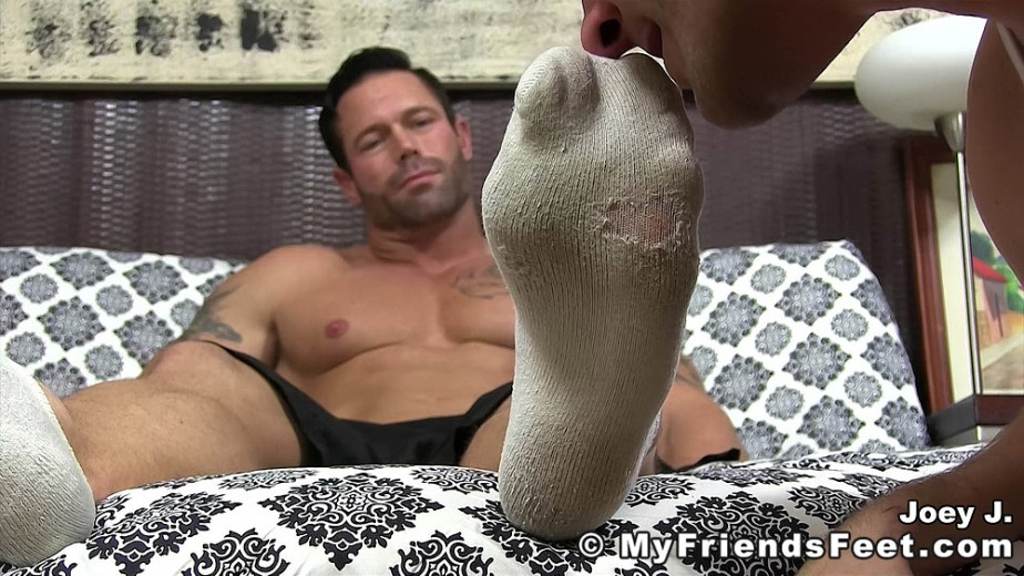 Joey gets his dirty white size 12 socked feet sniffed - My Friends' Feet - male foot fetish porn