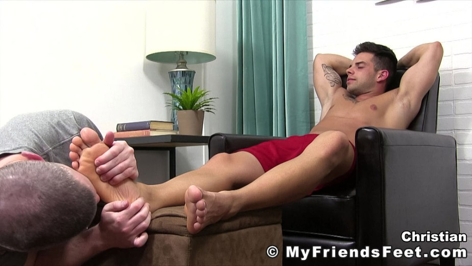 Christian lays back while Travis licks and worships his size 11 feet - My Friends' Feet - male foot fetish porn