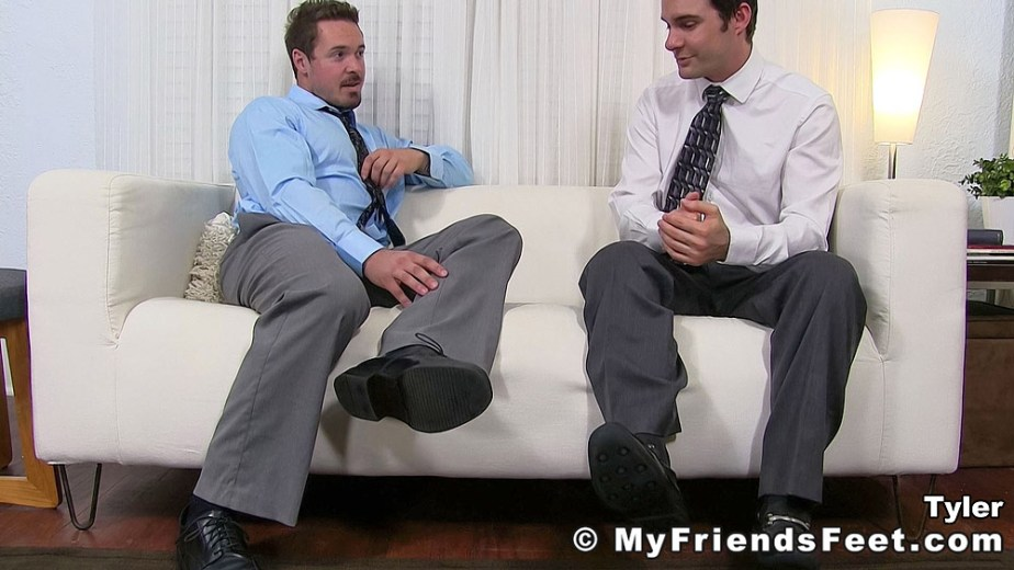 Tyler shows Cameron his size 12 dress shoes - My Friends' Feet - gay foot porn