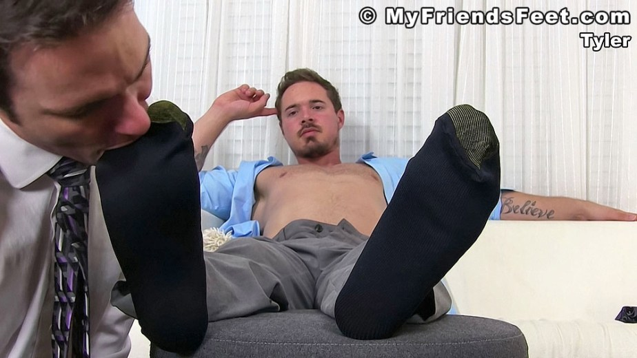 Cameron sucks on Tyler's size 12 black gold toe socks - My Friends' Feet - gay foot porn