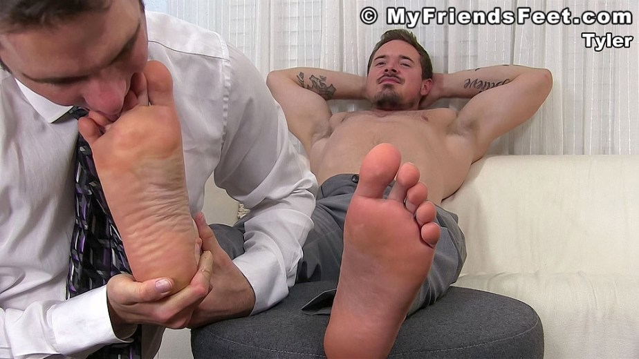 Cameron licks between shirtless Tyler's size 12 toes - My Friends' Feet - gay foot porn