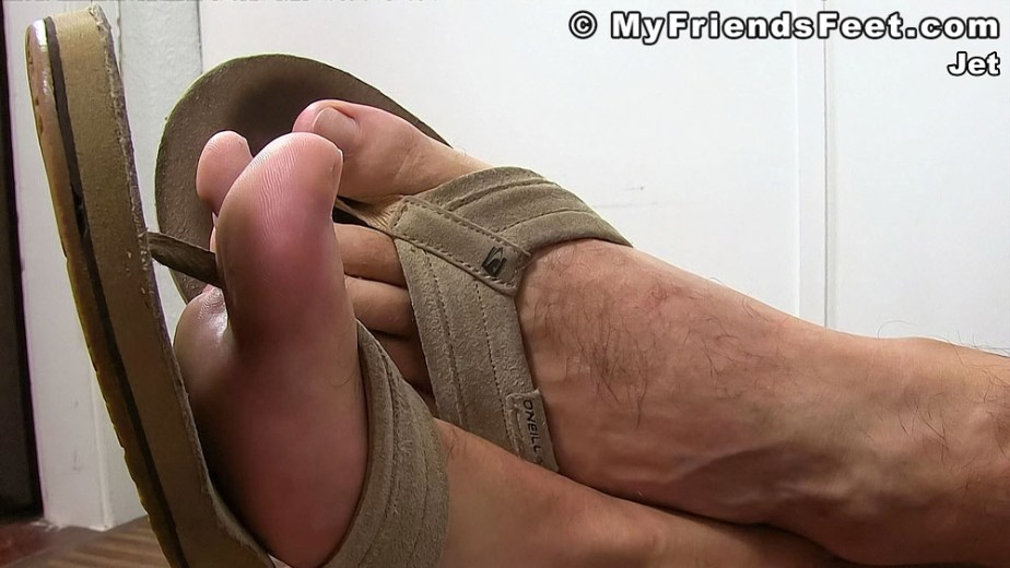 Jet shows off his size 12 feet in O'Neill mens flip flops - My Friends' Feet - gay foot porn