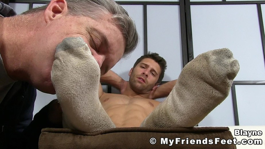 Blayne gets his dirty white socked feet worshipped for My Friends Feet