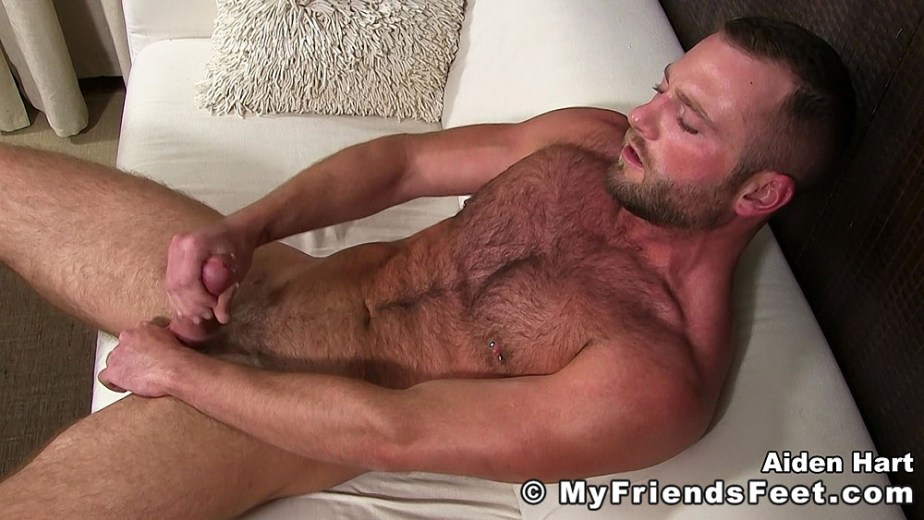 Aiden Hart jerks his cock for My Friends Feet