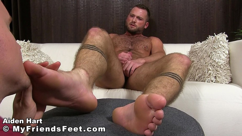 Aiden Hart has Nathan worship his feet while he jacks off for My Friends Feet