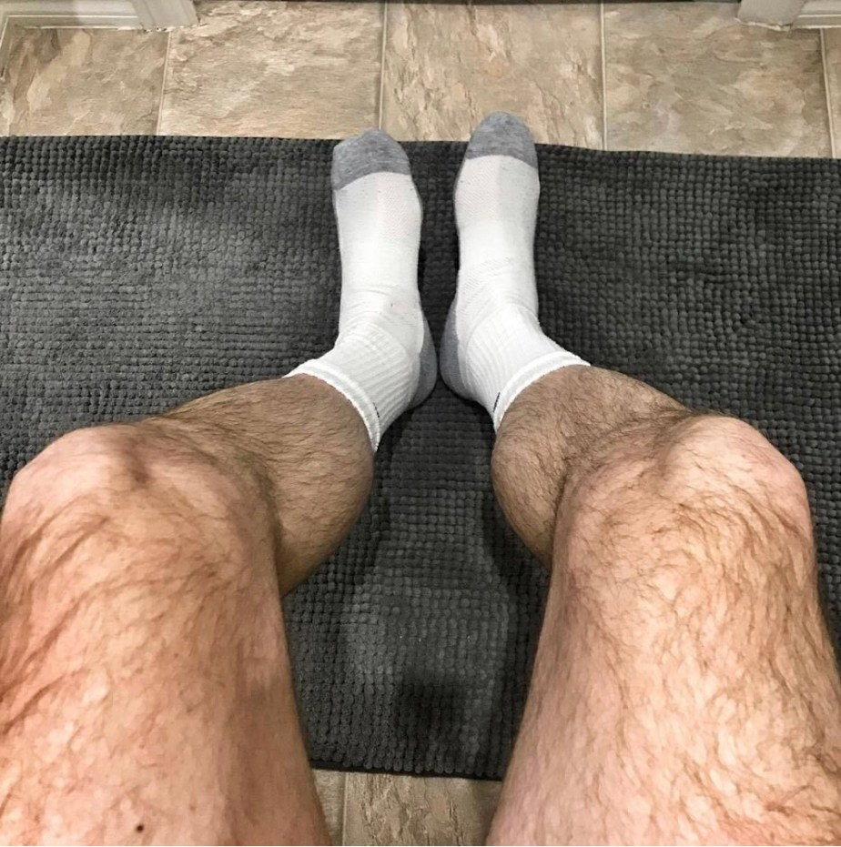 Socksking76's size 9 white socks with grey tips and hairy legs