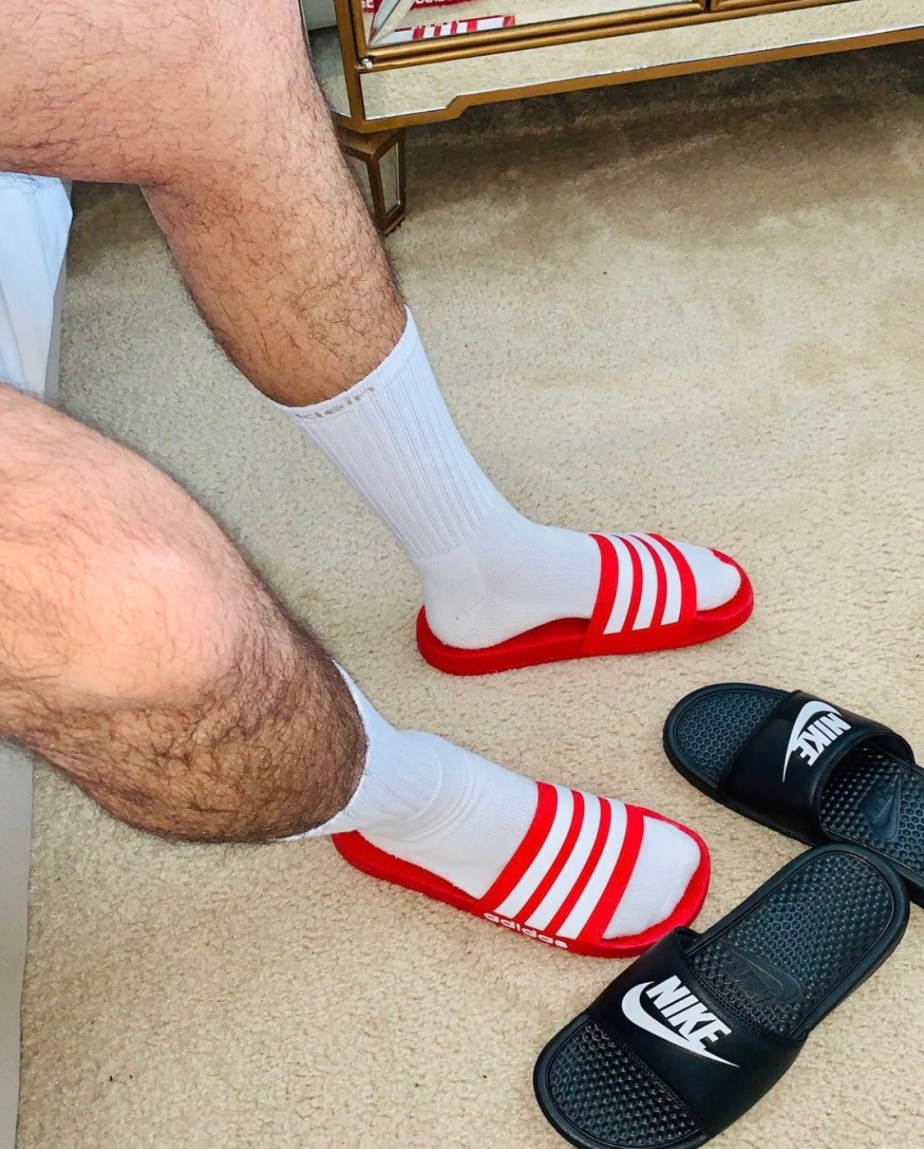 Lickable_feet's white crew socked feet in red Adidas slides