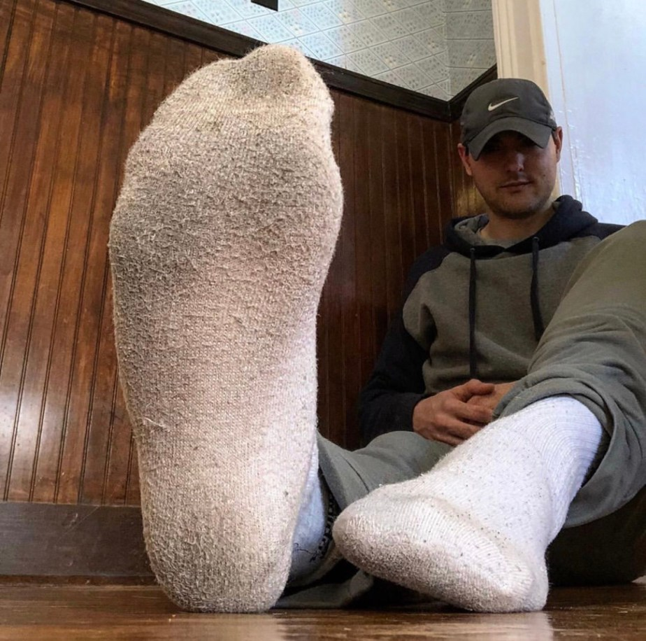 Brosoxnsoles_'s size 12 feet in dirty white Adidas crew socks