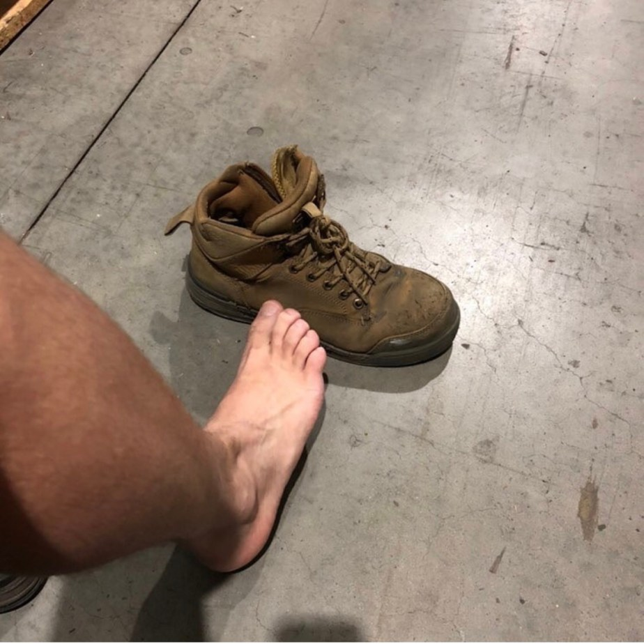 Sincerely_brandon's bare feet out of work boots and socks