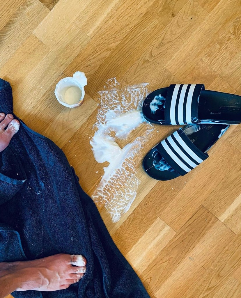 t.yp3 playing with yoghurt barefoot out of Adidas slides