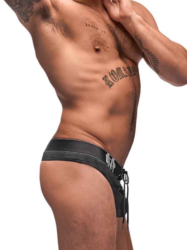 Black Ice Lace Up Thong mens sexy lingerie underwear