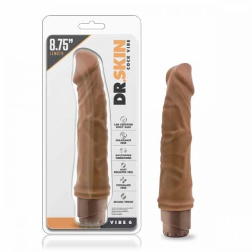 DR SKIN COCK VIBE #6 MOCHA REALISTIC COCK