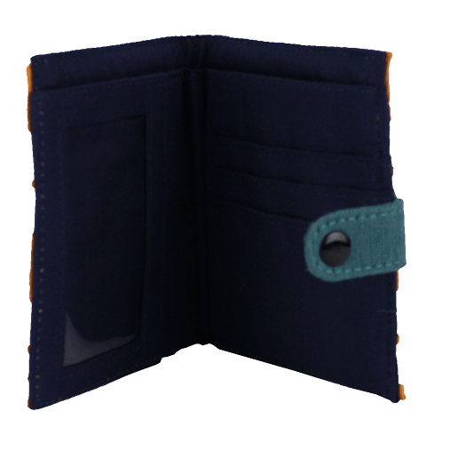 fair trade cotton square wallet with snap close orange and white interior