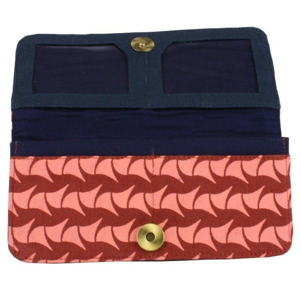 fair trade cotton long wallet with zip pouch and card slots brick and pink ray with navy interior