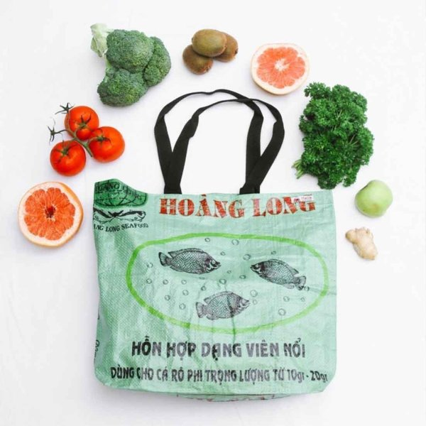 green recycled shopping tote with veggies