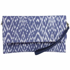 navy ikat clutch