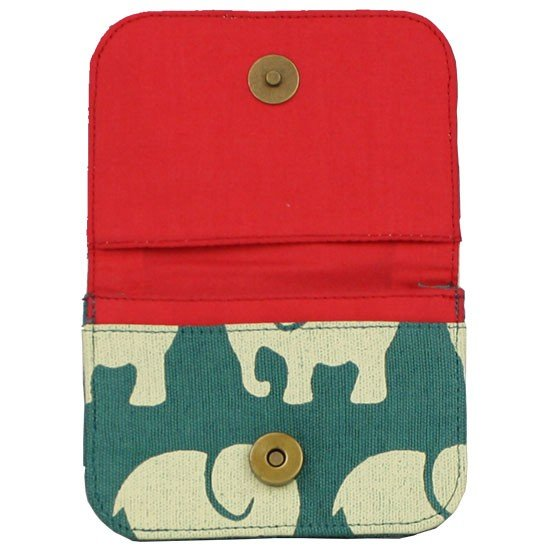 red interior of teal card holder