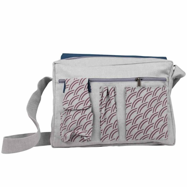 grey messenger bag interior