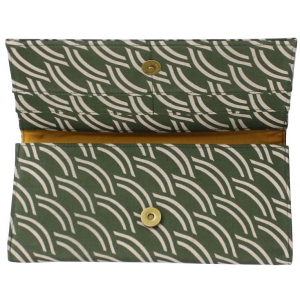 interior of army green canvas wallet
