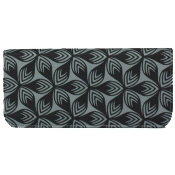 grey cotton wallet with black floral print