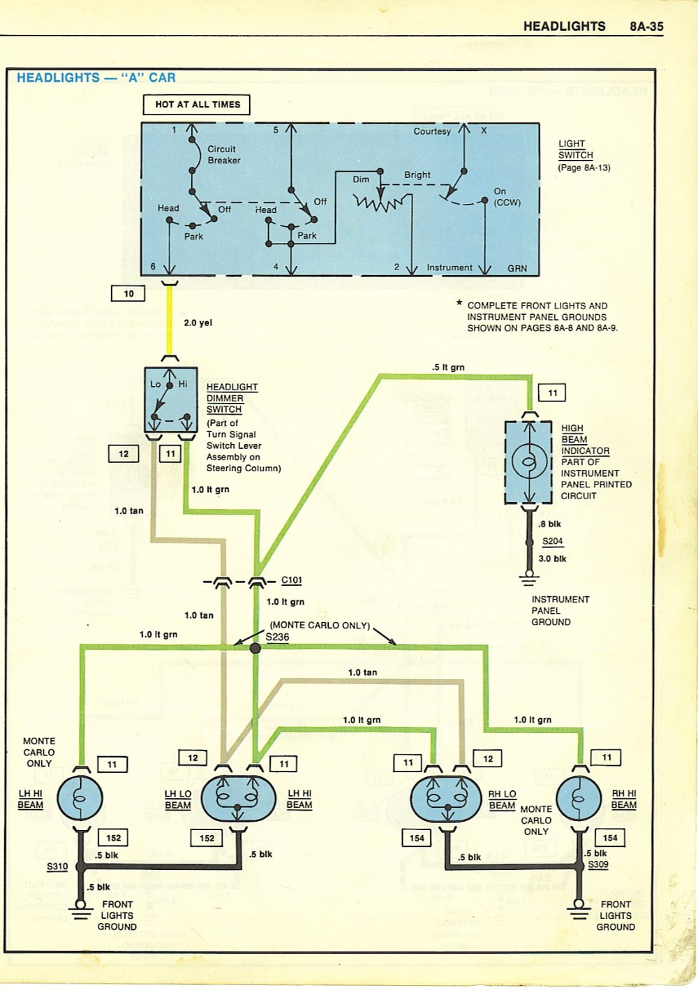 medium resolution of basic l camaro headlight wiring diagram