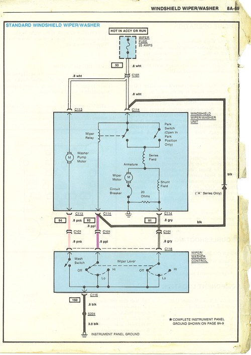 small resolution of 88 chevy van wiper motor wiring diagram