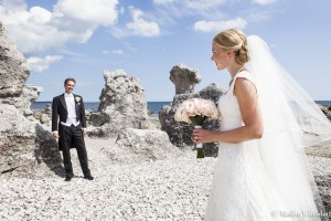 Bröllop Gotland Ljugarn Folhammar Brud brudgum kärlek bukett slöja raukar