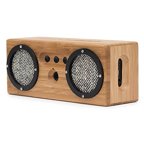 kitchen speakers apron for kids bongo wood bluetooth retro handcrafted bamboo portable is stylish eco friendly and naturally resonant the compact design maximizes portability 33 feet of wireless range 15 hours battery life