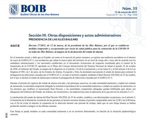 BOIB veröffentlicht die bis zum 11. April geltenden Einschränkungen
