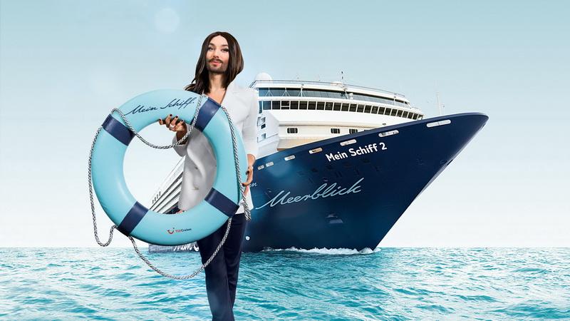Conchita kommt an Bord der Mein Schiff 2 (c) TUI Cruises