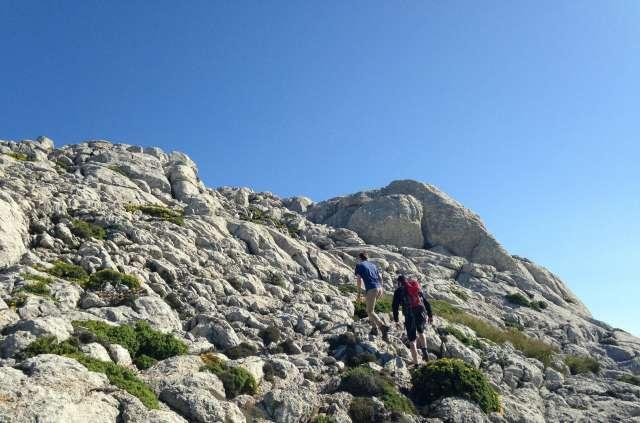 Das große Geröllfeld kurz vorm Gipfel
