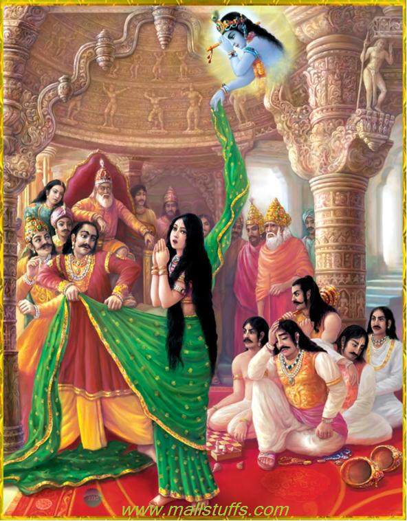 Krishna saves the honor of Draupadi.