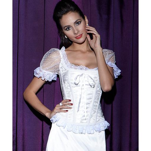Bridal Jacquard Short Sleeves Corset N8398