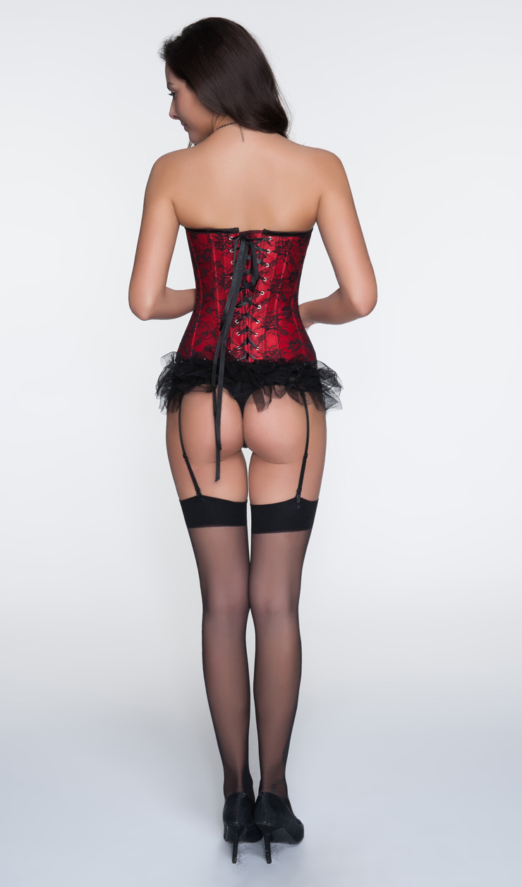 Sexy Red Strapless Lace Trim Ruffles Bust Overbust Christms Corset N10654