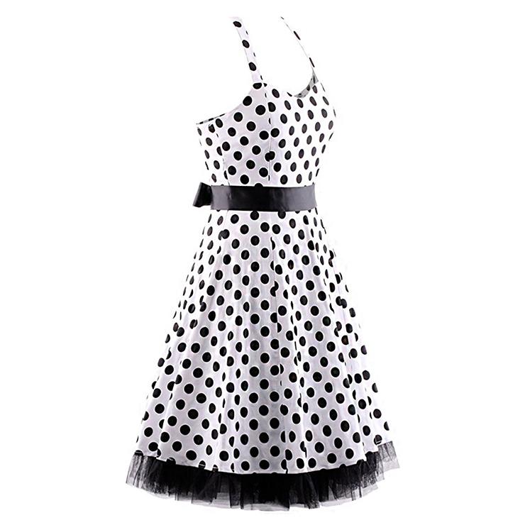 Vintage Sweetheart Neckline Halter Backless Polka Dot