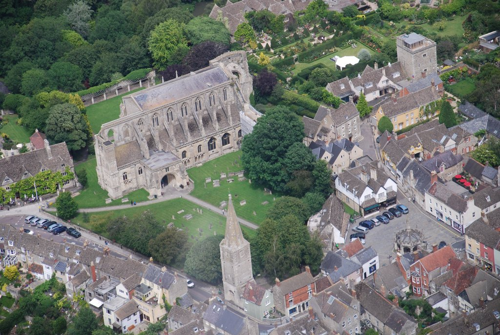 Aerial view of Abbey and Tower of St Paul